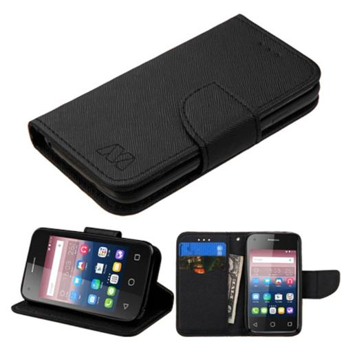 Insten Flip Leather Fabric Cover Case w/stand/card slot For Alcatel One Touch Pixi 4(3.5), Black