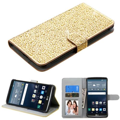 Insten Folio Leather Diamante Cover Case w/stand/card slot/Photo Display For LG G Stylo, Gold