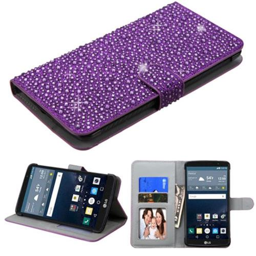 Insten Flip Leather Bling Case w/stand/card holder/Photo Display For LG G Stylo, Purple