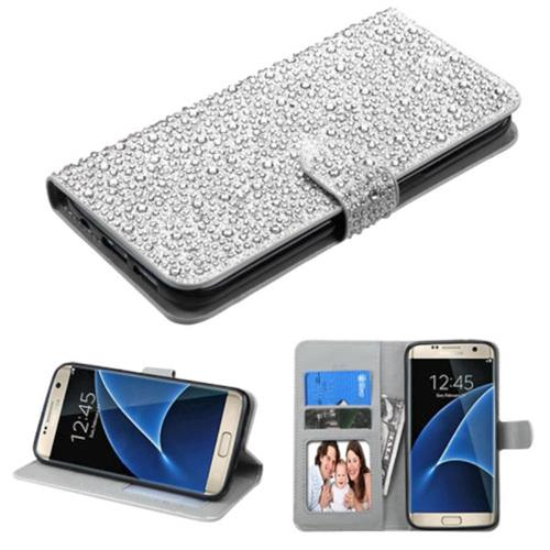 Insten Flip Leather Diamond Case w/stand/card slot/Photo Display For Samsung Galaxy S7 Edge, Silver