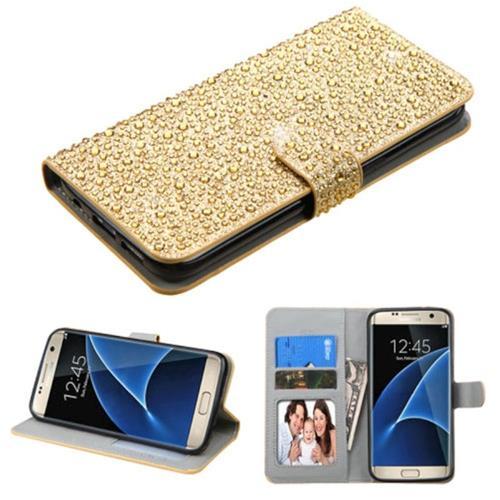 Insten Flip Leather Rhinestone Case w/stand/card slot For Samsung Galaxy S7 Edge,Gold