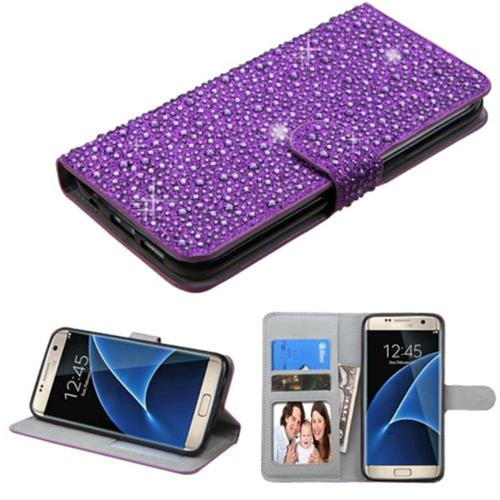 Insten Flip Leather Bling Case w/stand/card holder/Photo Display For Samsung Galaxy S7 Edge, Purple