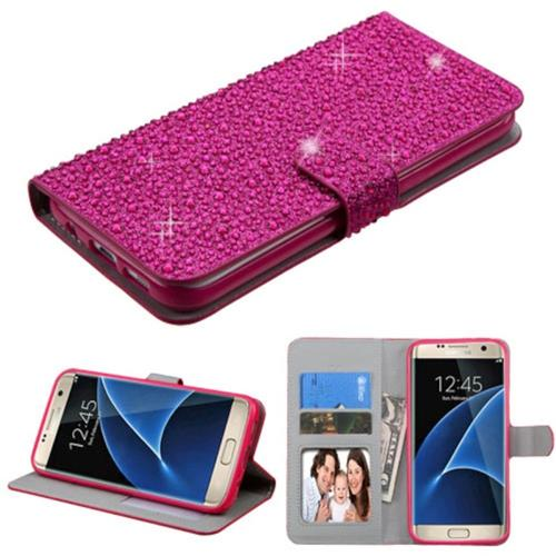 Insten Folio Leather Rhinestone Case w/stand/card holder For Samsung Galaxy S7 Edge,Hot Pink