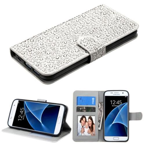 Insten Folio Leather Diamond Case w/stand/card holder For Samsung Galaxy S7,Silver