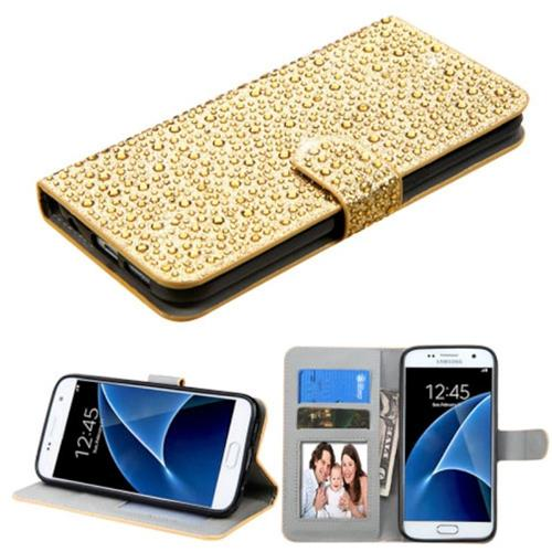 Insten Folio Leather Bling Case w/stand/card slot/Photo Display For Samsung Galaxy S7, Gold