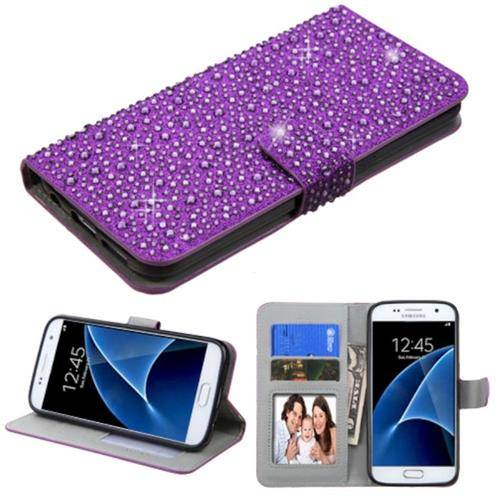 Insten Folio Leather Bling Case w/stand/card holder/Photo Display For Samsung Galaxy S7, Purple