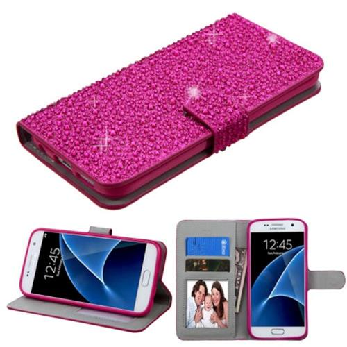 Insten Leather Rhinestone Case w/stand/card slot For Samsung Galaxy S7,Hot Pink