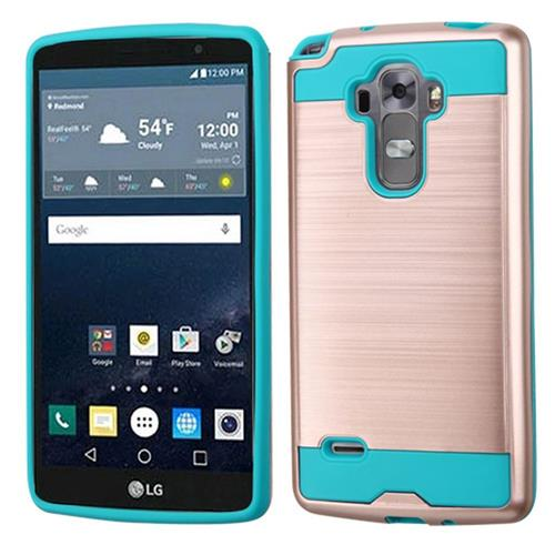 Insten Hard Hybrid Rubberized Silicone Case For LG G Stylo/G Vista 2, Rose Gold/Teal