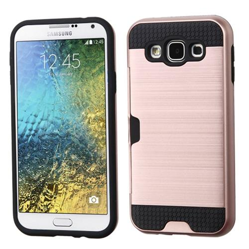 Insten Hard Dual Layer Case w/card holder For Samsung Galaxy E5,Rose Gold/Black