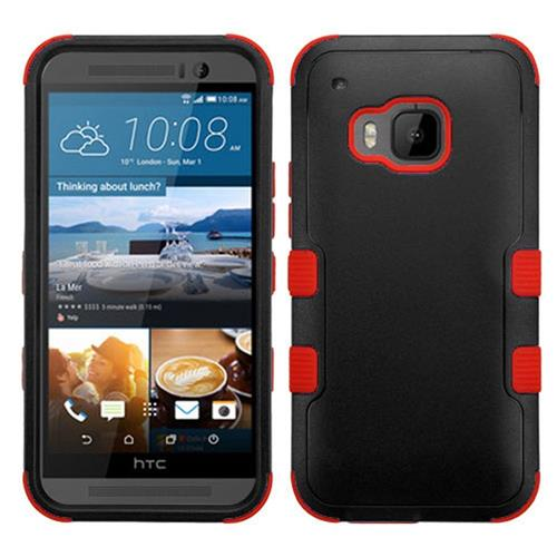 Insten Hard Dual Layer Silicone Cover Case For HTC One M9, Black/Red