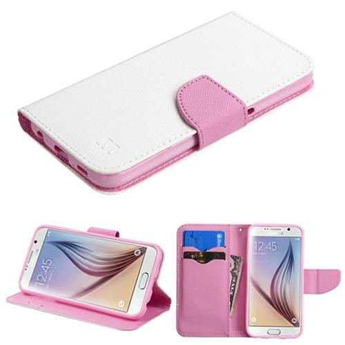 Insten Folio Leather Fabric Case w/stand/card slot For Samsung Galaxy S6, White/Pink