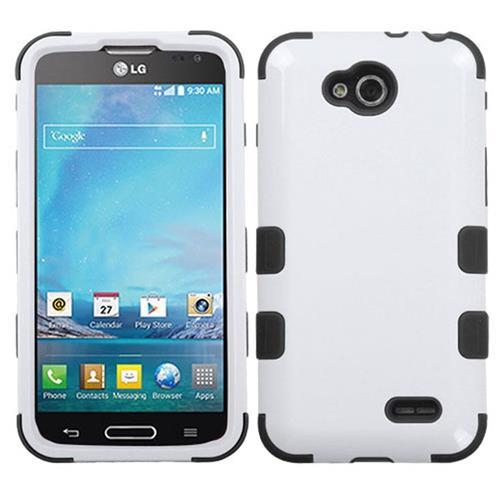 Insten Hard Dual Layer Silicone Case For LG Optimus L90, White/Black