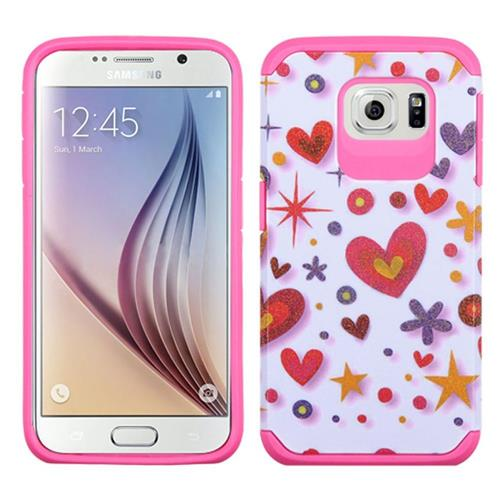 Insten Heart Graffiti Hard Hybrid Silicone Cover Case For Samsung Galaxy S6, Hot Pink/White