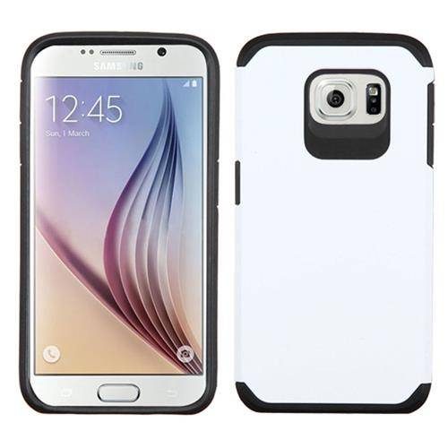 Insten Hard Hybrid Rubberized Silicone Case For Samsung Galaxy S6, White/Black