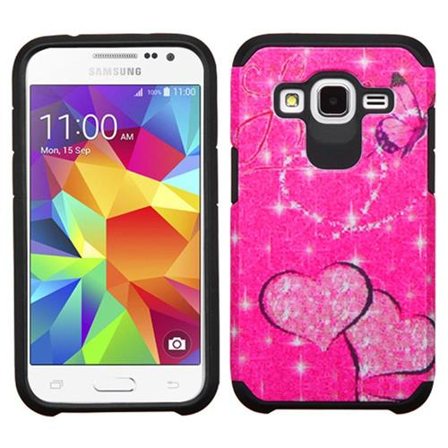 Insten Butterfly Glittering Hybrid Case For Samsung Galaxy Core Prime,Hot Pink/Black