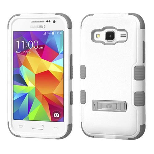 Insten Hard Dual Layer Rubber Silicone Case w/stand For Samsung Galaxy Core Prime, White/Gray