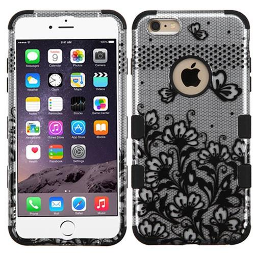 Insten Lace Flowers Hard Dual Layer Rubber Silicone Case For Apple iPhone 6 Plus/6s Plus,Black/White