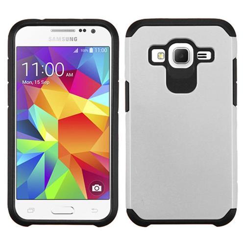 Insten Hard Dual Layer Rubber Silicone Cover Case For Samsung Galaxy Core Prime, Silver/Black