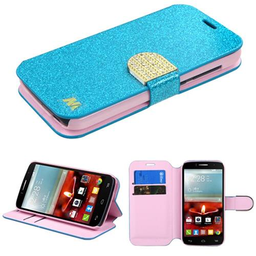 Insten Leather Glitter Case w/stand/card slot/Diamond For Alcatel One Touch Fierce 2 7040T,Blue/Gold