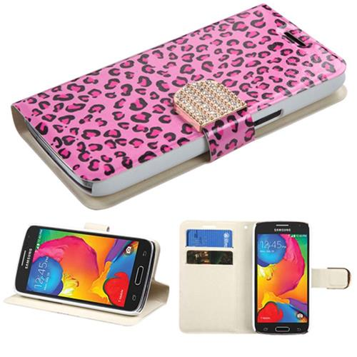 Insten Leather Fabric Case w/stand/card slot/Diamond For Samsung Galaxy Avant,Hot Pink/Black
