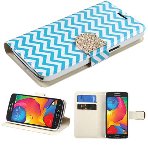 Insten Folio Leather Fabric Case w/stand/card holder/Diamond For Samsung Galaxy Avant,Blue/White