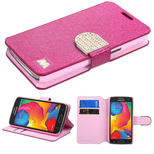 Insten Leather Glitter Case w/stand/card slot/Diamond For Samsung Galaxy Avant,Hot Pink/Gold