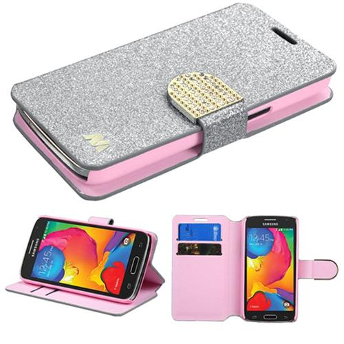 Insten Flip Leather Glitter Case w/stand/card slot/Diamond For Samsung Galaxy Avant,Silver/Gold