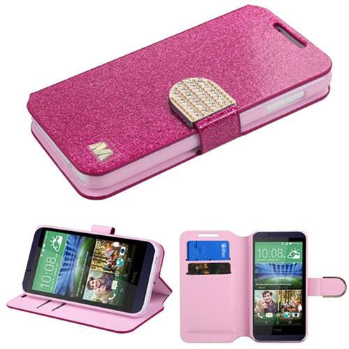 Insten Leather Glitter Case w/stand/card slot/Diamond For HTC Desire 510,Hot Pink/Gold