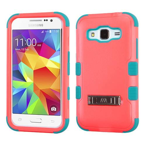 Insten Hard Dual Layer Silicone Cover Case w/stand For Samsung Galaxy Core Prime, Red/Teal