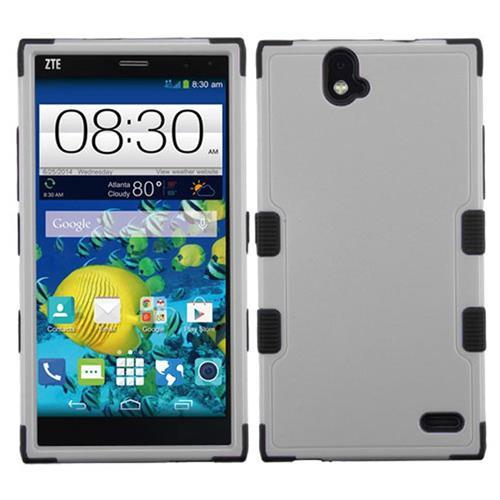Insten Tuff Hard Hybrid Rubberized Silicone Cover Case For ZTE Grand X Max/Grand X Max+, Gray/Black