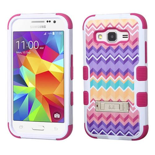 Insten Camo Wave Hybrid Rubber Silicone Case w/stand For Samsung Galaxy Core Prime,Hot Pink/Purple