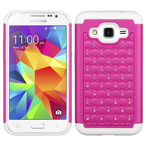 Insten Fitted Soft Shell Case for Samsung Galaxy Core Prime - Hot Pink;White