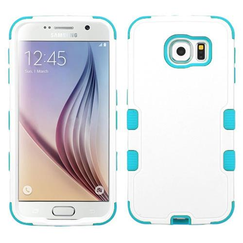 Insten Tuff Hard Hybrid Rubber Silicone Case For Samsung Galaxy S6, White/Blue