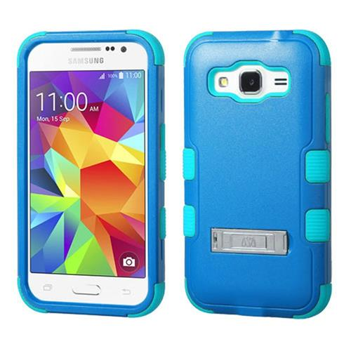 Insten Hard Dual Layer Rubber Silicone Case w/stand For Samsung Galaxy Core Prime, Blue/Teal