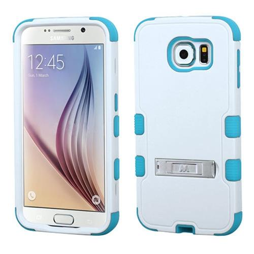Insten Hard Hybrid Rubberized Silicone Case w/stand For Samsung Galaxy S6, White/Blue