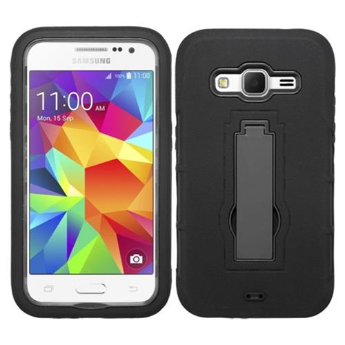 Insten Symbiosis Skin Hybrid Rubber Hard Case w/stand For Samsung Galaxy Core Prime, Black