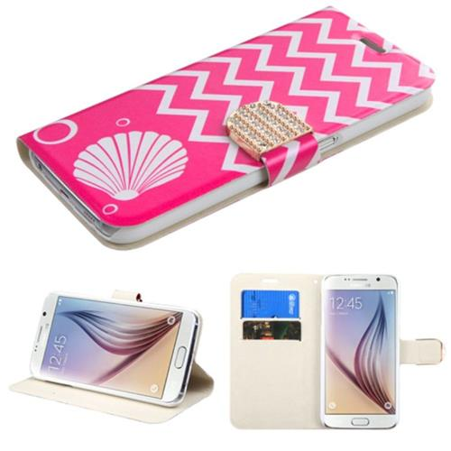 Insten Shell Leather Fabric Case w/stand/card holder/Diamond For Samsung Galaxy S6,Hot Pink/White