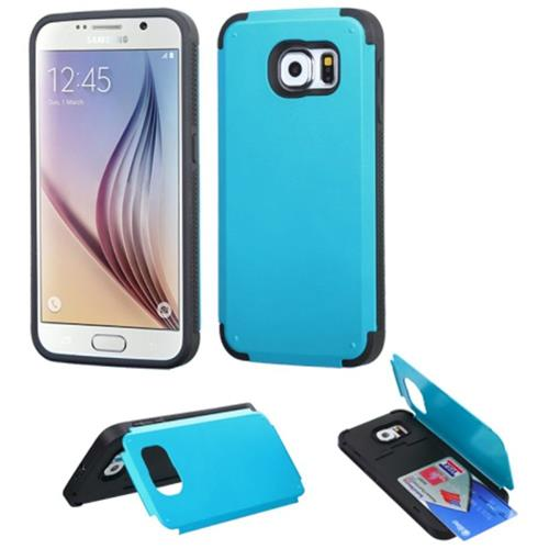 Insten Hard Silicone Case w/card holder For Samsung Galaxy S6, Teal/Black