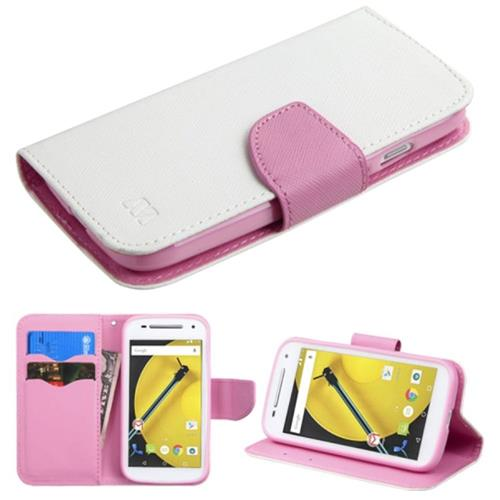 Insten Flip Leather Fabric Case w/stand/card slot/Diamond For Motorola Moto E(2nd Gen), White/Pink
