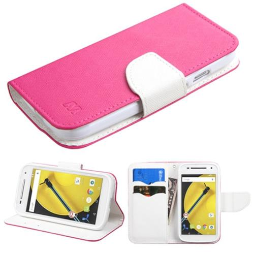 Insten Leather Fabric Case w/stand/card holder/Diamond For Motorola Moto E(2nd Gen),Hot Pink/White