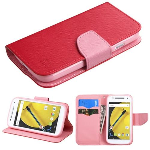Insten Folio Leather Fabric Case w/stand/card holder/Diamond For Motorola Moto E(2nd Gen),Red/Pink