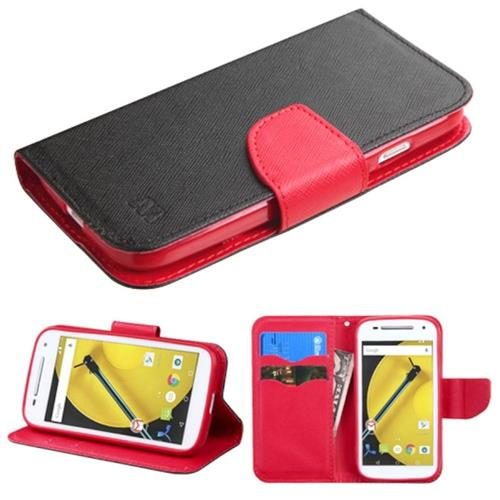 Insten Folio Leather Fabric Case w/stand/card slot/Diamond For Motorola Moto E(2nd Gen),Black/Red