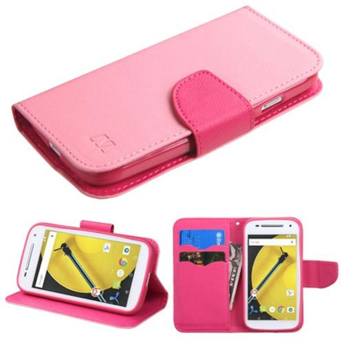 Insten Leather Fabric Case w/stand/card holder/Diamond For Motorola Moto E(2nd Gen),Hot Pink/Pink