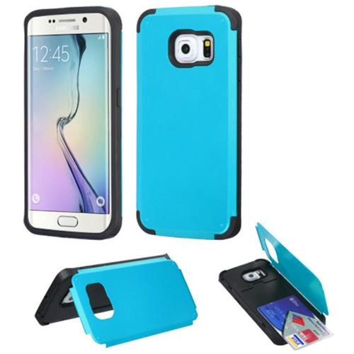 Insten Hard Case w/card slot For Samsung Galaxy S6 Edge, Blue