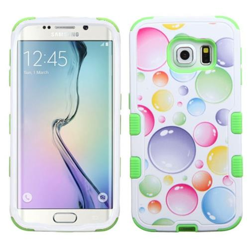 Insten Tuff Rainbow Bubbles Hybrid Rubberized Silicone Case For Samsung Galaxy S6 Edge,Green/White