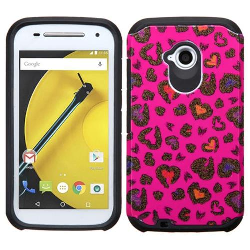 Insten Leopard Hard Dual Layer Silicone Cover Case For Motorola Moto E(2nd Gen), Hot Pink/Black
