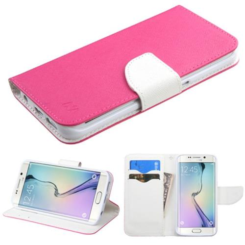 Insten Flip Leather Fabric Case w/stand/card slot For Samsung Galaxy S6 Edge, Hot Pink/White