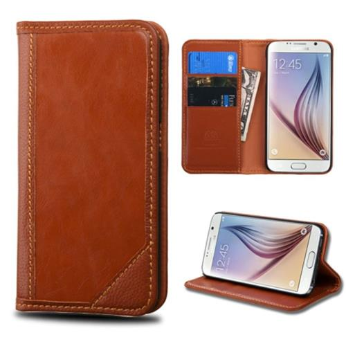 Insten Flip Leather Fabric Case w/stand/card slot For Samsung Galaxy S6, Brown