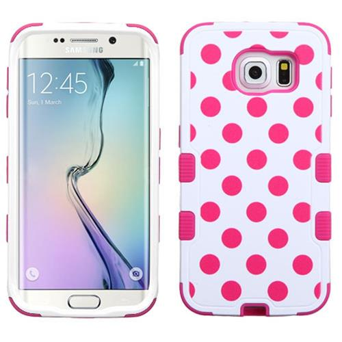 Insten Tuff Polka Dots Hard Hybrid Rubber Silicone Case For Samsung Galaxy S6 Edge, Hot Pink/White