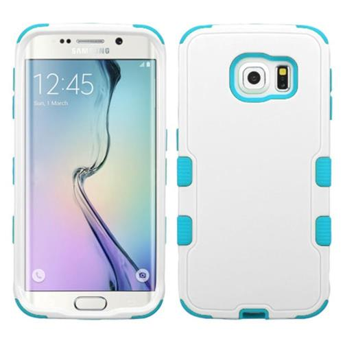 Insten Tuff Hard Hybrid Silicone Cover Case For Samsung Galaxy S6 Edge, White/Blue